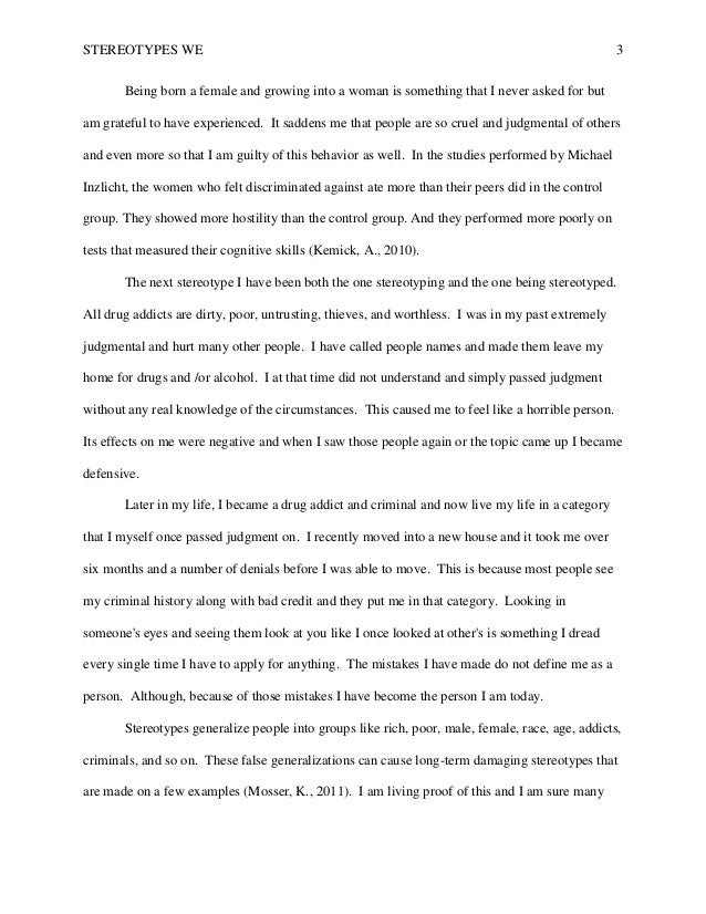 Stereotypes essay stereotype essay examples co essays on stereotypes