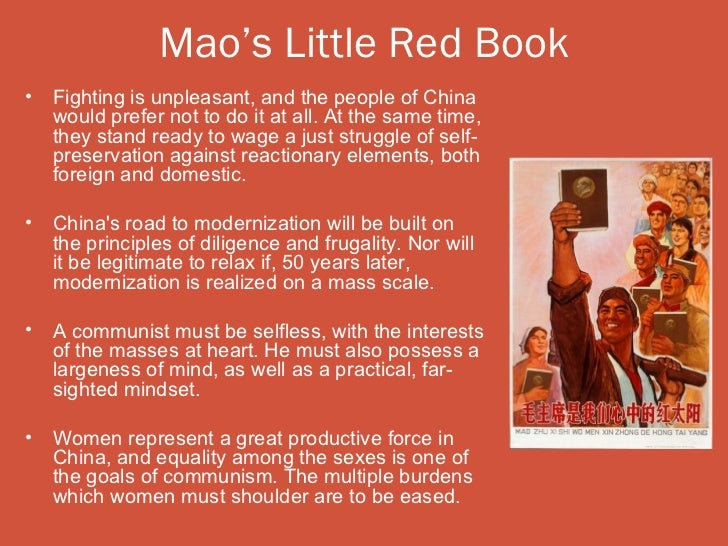 Mao's Little Red Book•   Fighting is unpleasant, and the people of China    would prefer not to do it at all. At the same ...