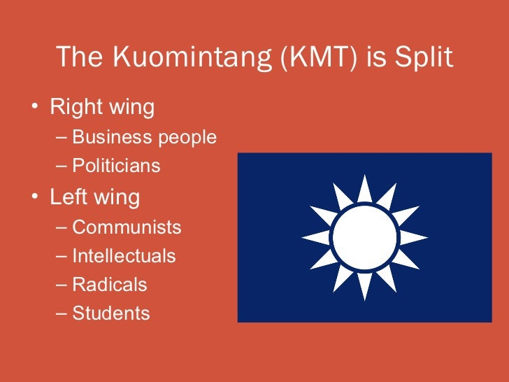 The Kuomintang (KMT) is Split• Right wing  – Business people  – Politicians• Left wing  – Communists  – Intellectuals  – R...