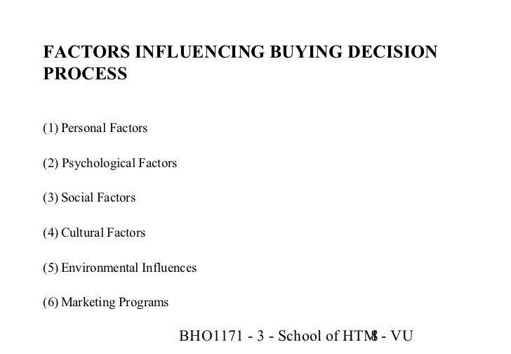 social cultural and environmental factors influencing consumer behaviour The second major groups of factors that influence consumer decision making are social factors, which include all effects on the buying behaviour that result from interactions between a consumer and the external environment.