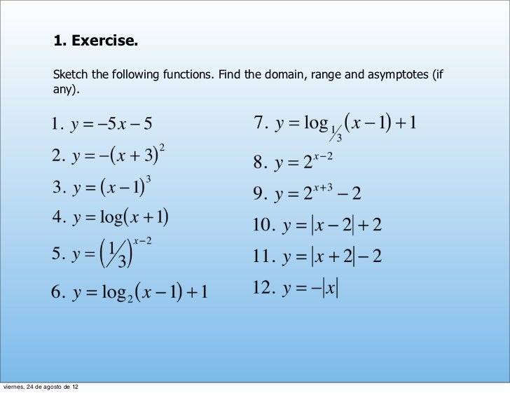 1. Exercise.                 Sketch the following functions. Find the domain, range and asymptotes (if                 any...