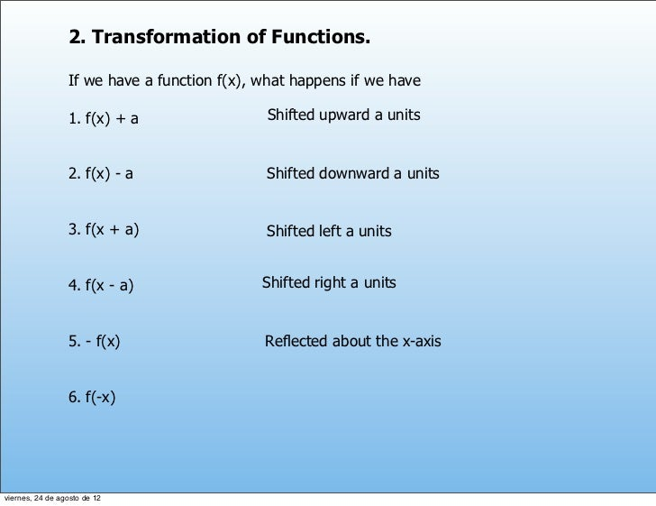2. Transformation of Functions.                 If we have a function f(x), what happens if we have                 1. f(x...