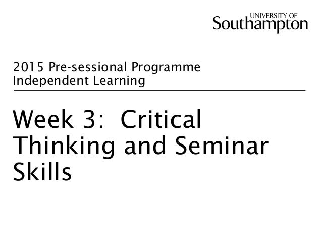 week one critical thinking questions Scaffolding for questioning asking students to ask high-level questions takes a certain level of scaffolding it starts small, with a mini-leson earlier in the year defining level 3 it was a victory for project based learning, for ipads in the classroom, and for critical thinking using technology.