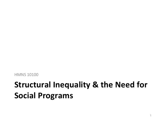 Structural Inequality & the Need for Social Programs HMNS 10100 1