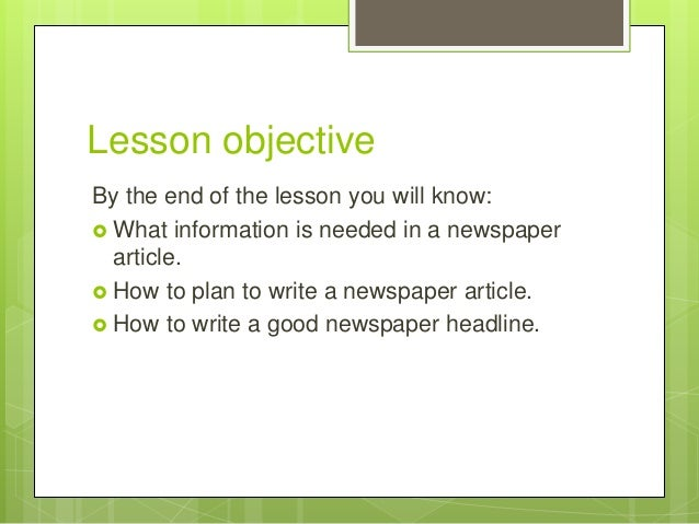 How to write a news report lesson