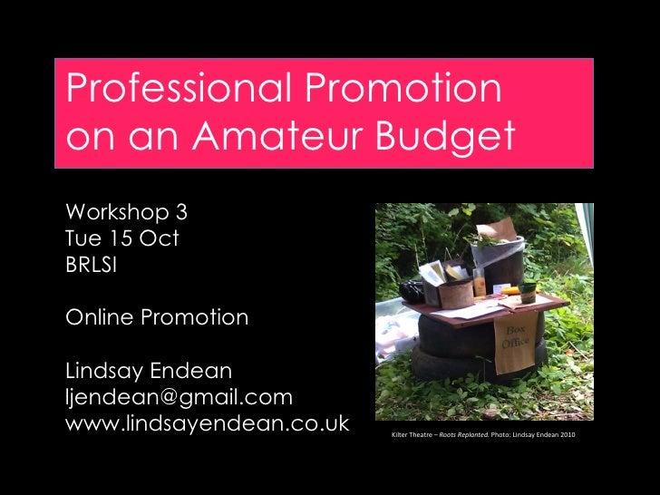 Professional Promotionon an Amateur BudgetWorkshop 3Tue 15 OctBRLSIOnline PromotionLindsay Endeanljendean@gmail.comwww.lin...