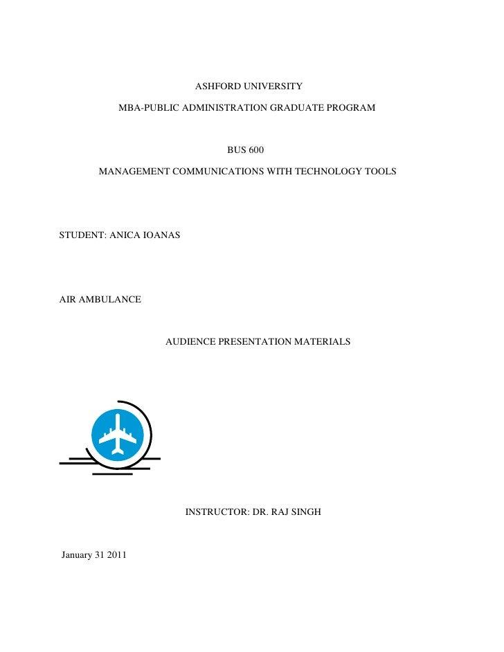 <br />                                                       ASHFORD UNIVERSITY<br />                        MBA-PUB...