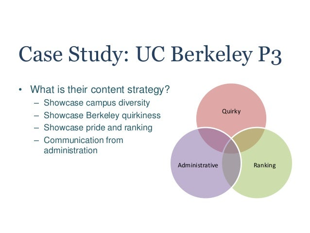 Case Study: UC Berkeley P3 • What is their content strategy? – Showcase campus diversity – Showcase Berkeley quirkiness – ...