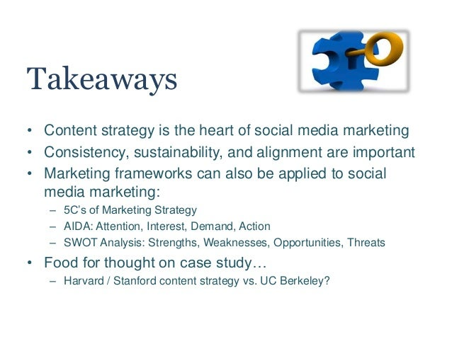 Takeaways • Content strategy is the heart of social media marketing • Consistency, sustainability, and alignment are impor...