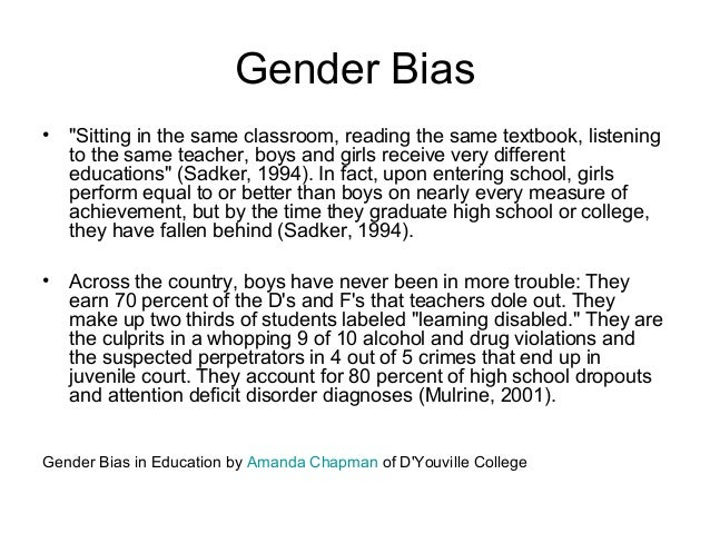 examples of gender bias in the classroom