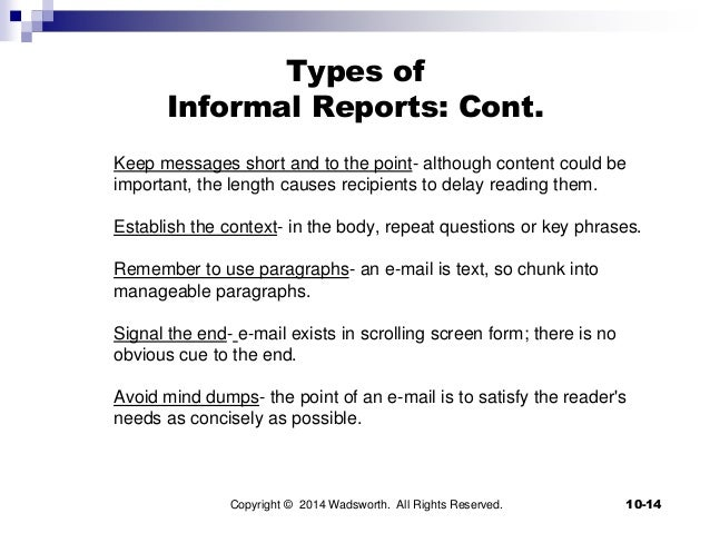 Week 4 informal reports and email 10 13 14 types of informal ccuart Gallery