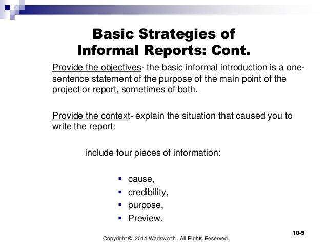 how to write an informal report