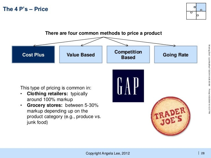 product and price-The 4 P's of marketing