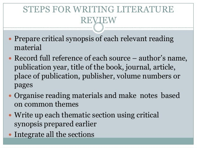 steps to write a literature review