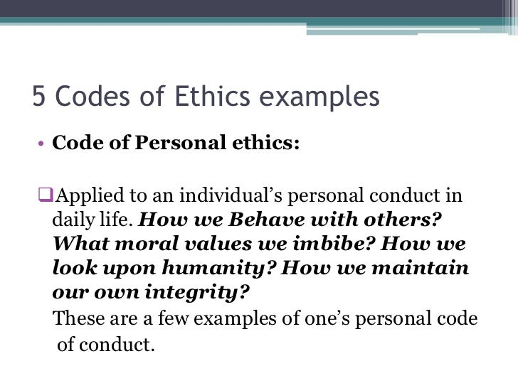 Code Of Ethics Example - Ex