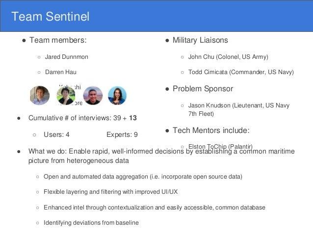 Team Sentinel ● Team members: ○ Jared Dunnmon ○ Darren Hau ○ Atsu Kobashi ○ Rachel Moore ● Cumulative # of interviews: 39 ...