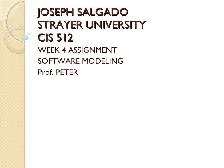 JOSEPH SALGADO STRAYER UNIVERSITY CIS 512 WEEK 4 ASSIGNMENT SOFTWARE MODELING Prof. PETER