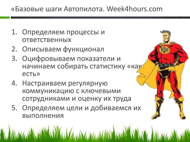«Базовые шаги Автопилота. Week4hours.com 1. Определяем процессы и ответственных 2. Описываем функционал 3. Оцифровываем по...