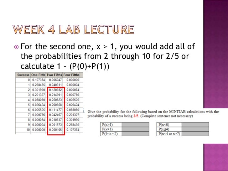 week 4 lab math 221 Math 221 statistics for decision making week 4 lab name: _____ math221 statistical concepts: probability binomial probability distributions calculating binomial probabilities ø calculate binomial distributions for 10 trials and three different probabilities of success 1.