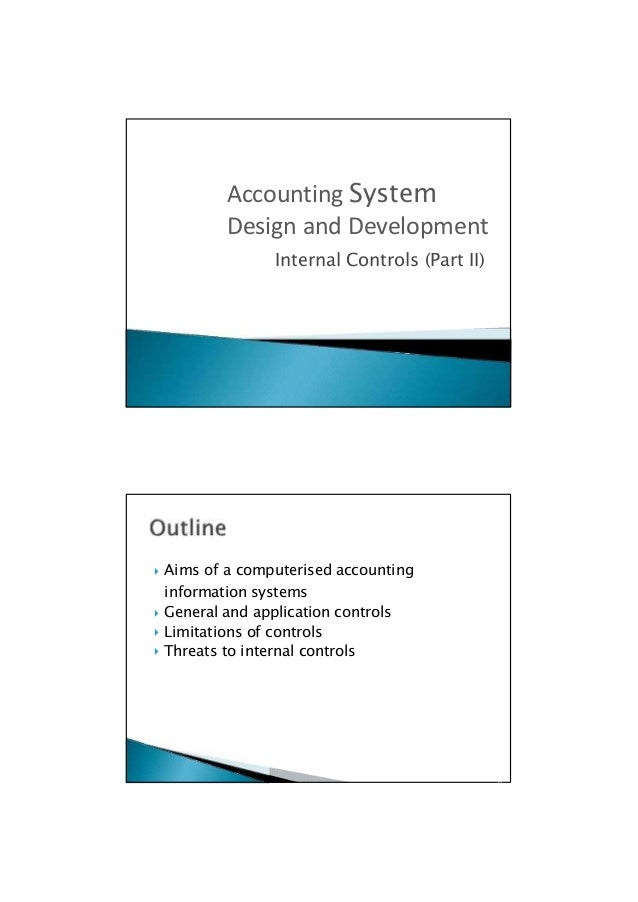  Aims of a computerised accounting information systems  General and application controls  Limitations of controls  Thr...