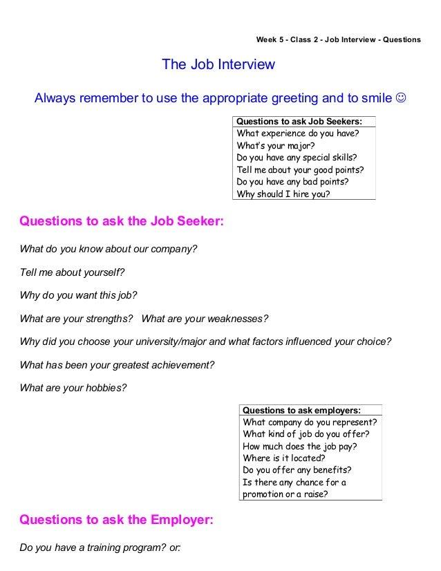 Week 5   Class 2   Job Interview   Questions The Job Interview ...