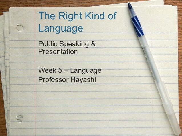 The Right Kind ofLanguagePublic Speaking &PresentationWeek 5 – LanguageProfessor Hayashi
