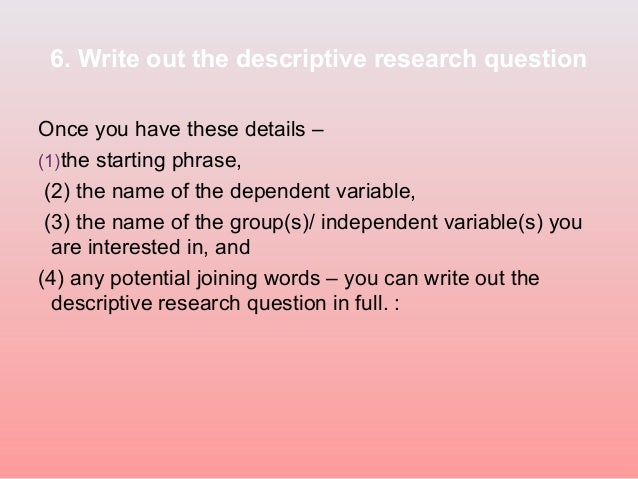 writing research questions ppt slide
