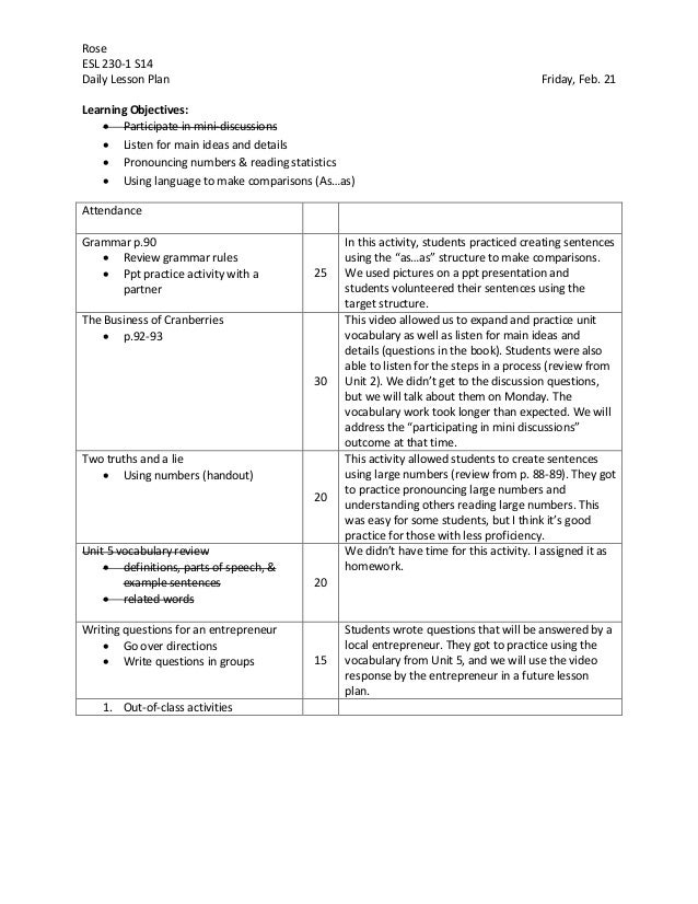 Sample Lesson Plan with Learning Objectives – Sample Unit Plan