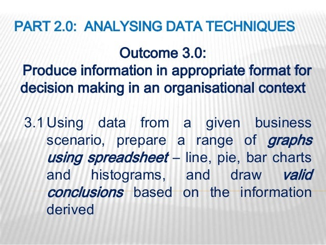 PART 2.0: ANALYSING DATA TECHNIQUES              Outcome 3.0:Produce information in appropriate format fordecision making ...