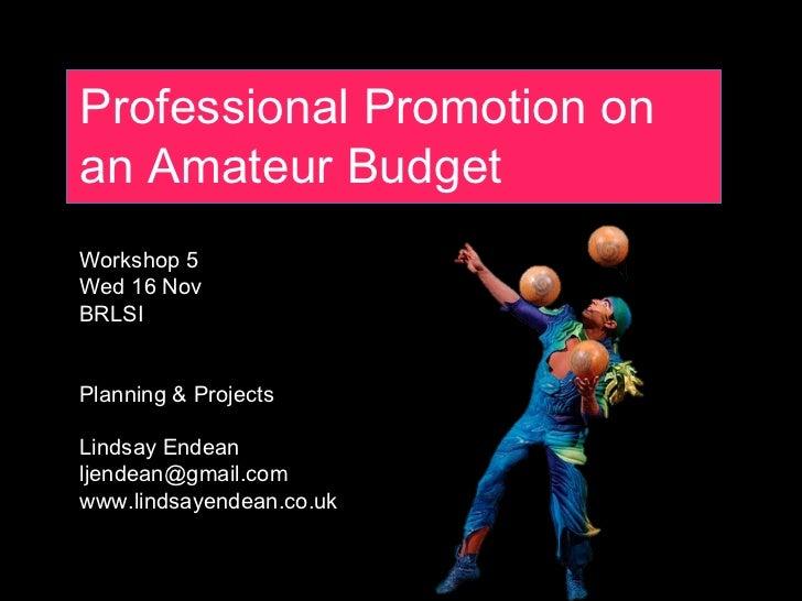Professional Promotion on an Amateur Budget Workshop 5 Wed 16 Nov BRLSI Planning & Projects Lindsay Endean [email_address]...