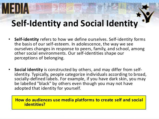 social identities Social identity relates to how we identify ourselves in relation to others according to what we have in common for example, we can identify ourselves according to religion or where we're from (asian american, southerner, new yorker), political affiliation (democrat, environmentalist), vocation .