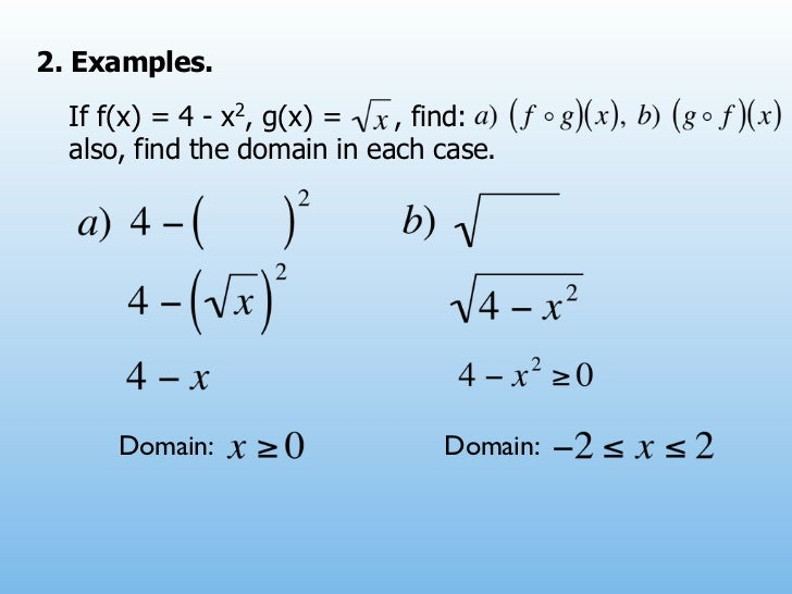 2. Examples.  If f(x) = 4 - x2, g(x) =   , find:  also, find the domain in each case.      Domain:                   Domain: