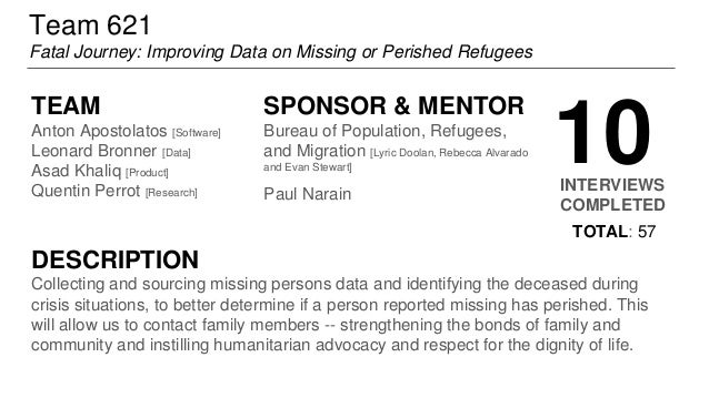 Team 621 Fatal Journey: Improving Data on Missing or Perished Refugees TEAM Anton Apostolatos [Software] Leonard Bronner [...