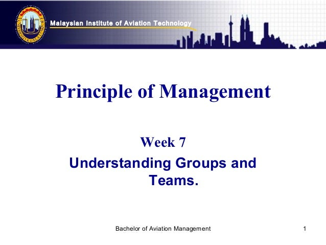 Malaysian Institute of Aviation Technology Bachelor of Aviation Management 1 Principle of Management Week 7 Understanding ...