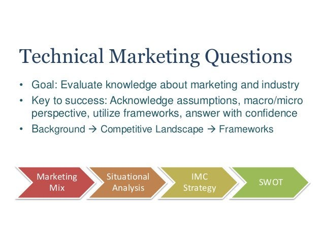 Technical Marketing Questions • Goal: Evaluate knowledge about marketing and industry • Key to success: Acknowledge assump...