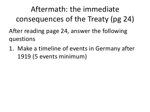 Aftermath: the immediateconsequences of the Treaty (pg 24)After reading page 24, answer the followingquestions1. Make a ti...