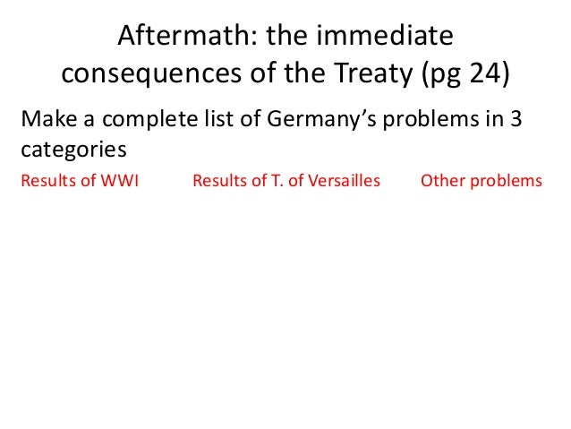 the effects of the treaty of versailles on germany Summary on 28 june 1919, the treaty of versailles was signed with germany the germans had not been allowed to send any delegates, and had to accept whatever was.