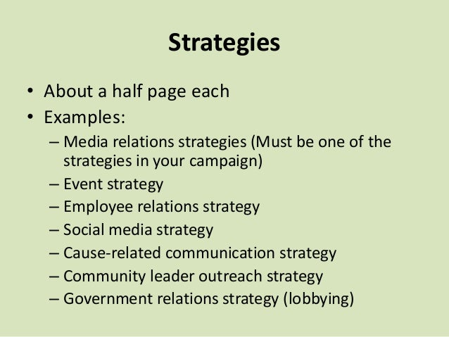 Strategies Describe in concept, how each objective will be accomplished. Include messages and themes. Be creative. More th...