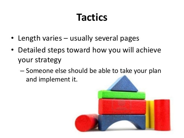 Tactics/Activities How will you achieve your strategies? Detailed steps Not a to-do list or laundry list