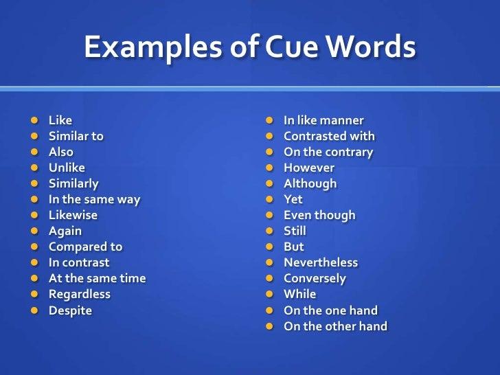 Cue words comparison essay