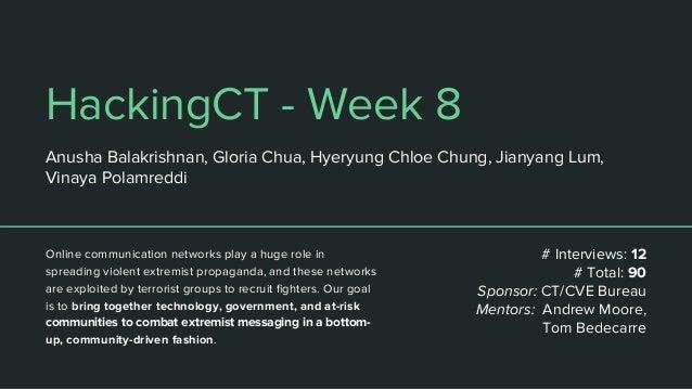 HackingCT - Week 8 Anusha Balakrishnan, Gloria Chua, Hyeryung Chloe Chung, Jianyang Lum, Vinaya Polamreddi Online communic...