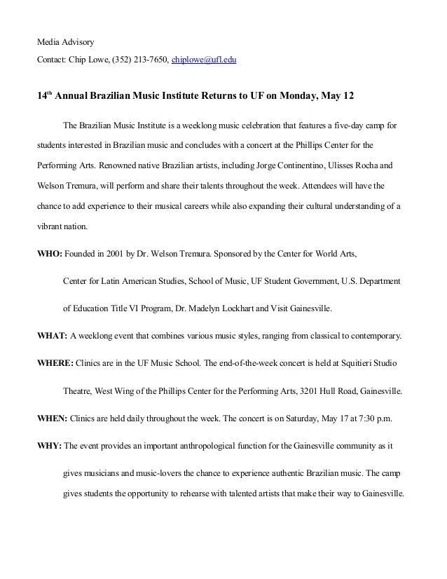 BMI Sample - Media Advisory