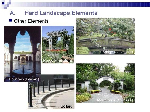 A. Hard Landscape Elements  Other Elements Pergola (English) Bridge (Japanese) Moon Gate (Chinese) Fountain (Islamic) Bol...