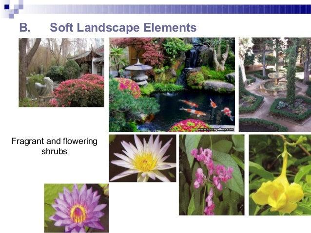 B. Soft Landscape Elements Fragrant and flowering shrubs