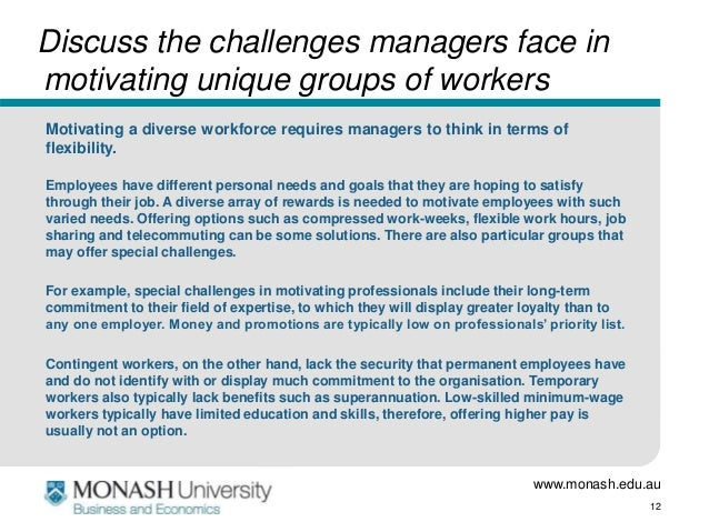challenges managers face in motivating employees Challenges managers face in motivating their employees can be eliminated or reduced when 25 dilemmas managers face in motivating employees.
