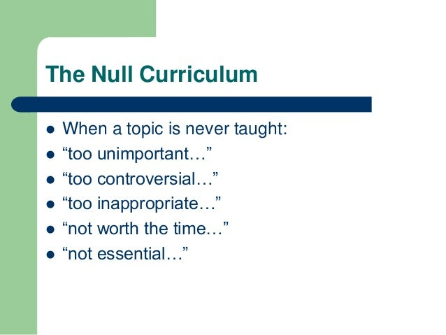 null curriculum definition education