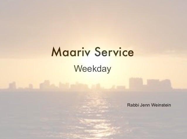 Maariv Service Weekday Rabbi Jenn Weinstein