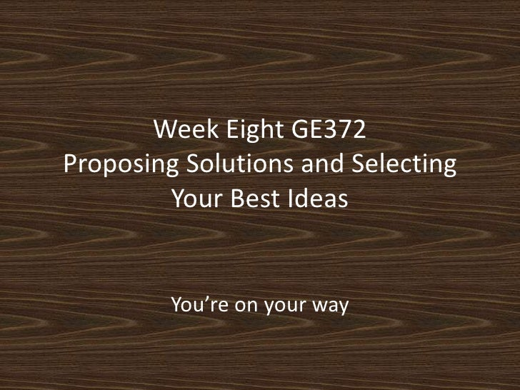 GE372: Week Eight