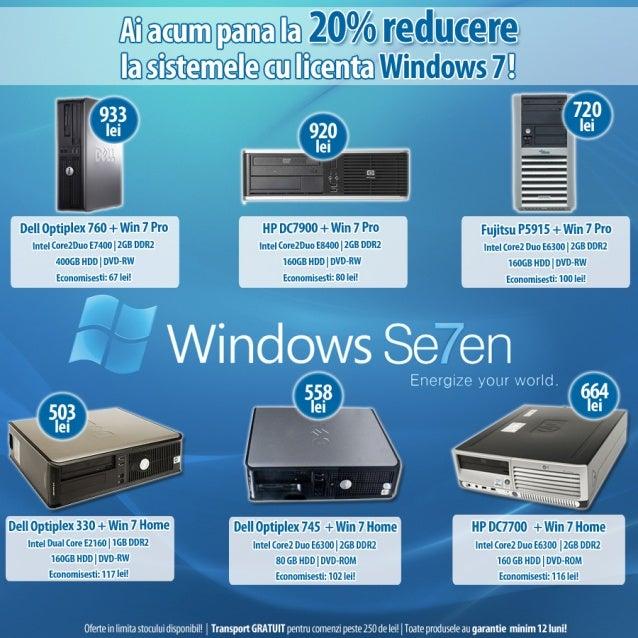 Calculatoare second hand cu licenta Windows 7