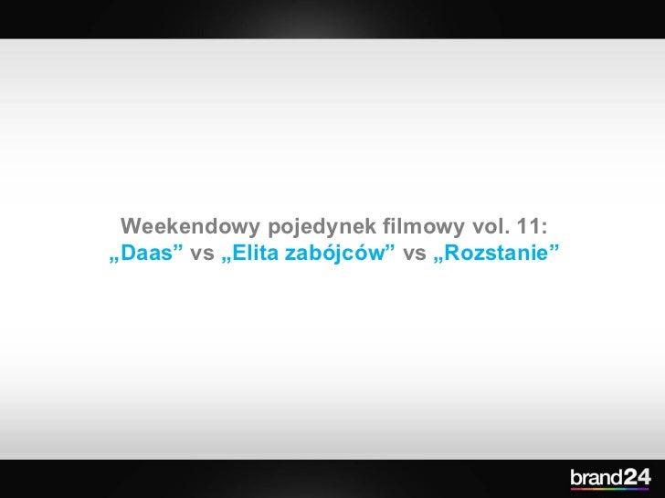 """Weekendowy pojedynek filmowy vol. 11:  """" Daas""""  vs  """"Elita zabójców""""  vs  """"Rozstanie"""""""